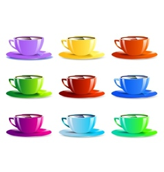 Different color paper cups icons vector image