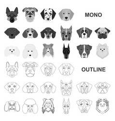 Dog breeds monochrom icons in set collection for vector