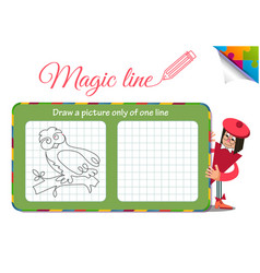 draw a picture only of one line owl vector image