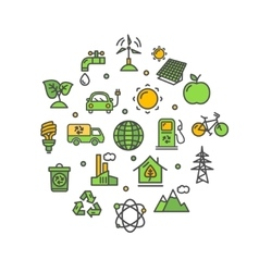 Ecology Round Design Template Thin Line Icon vector
