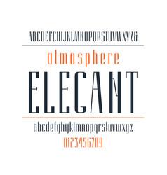 Elegant narrow sans serif font vector