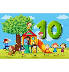 Flashcard number 10 with ten children in the park vector image
