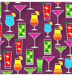 Flat style seamless pattern cocktail background vector
