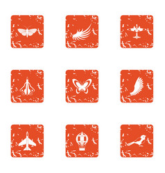Flying object icons set grunge style vector