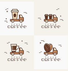 four logos for street cafe contains coffee truck vector image