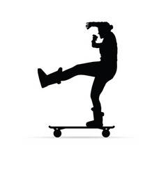 Girl figure silhouette on skate vector