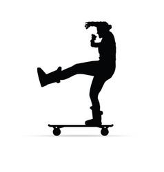 girl figure silhouette on skate vector image