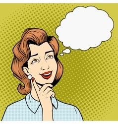 Girl thinking something comic book style vector image