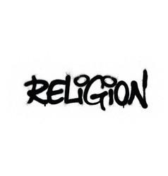 Graffiti religion word sprayed in black over white vector