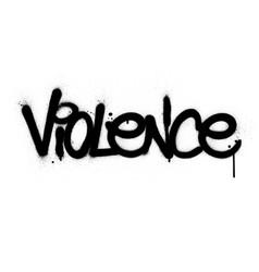 Graffiti violence word sprayed in black over white vector