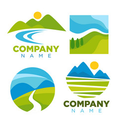 Green nature landscape templates for company vector