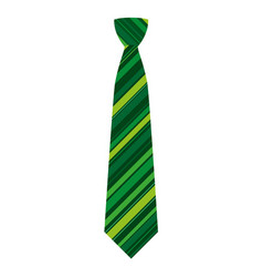 green striped tie icon flat style vector image