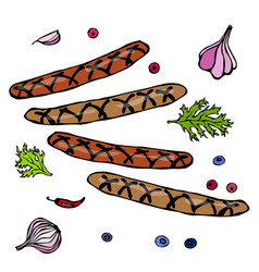grilled bavarian or american sausages with chili vector image