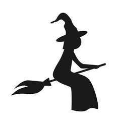 halloween witch flying on the broom black vector image