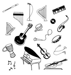 hand drawn sketch of music instruments vector image