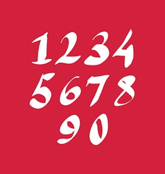 Hand written fresh numbers stylish drawn numbers vector image