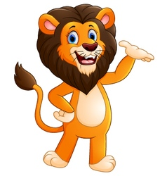 Happy carton lion posing vector image
