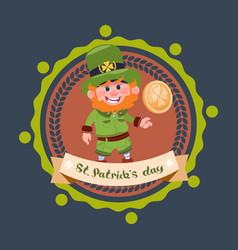 happy st patricks day icon with leprechaun in vector image