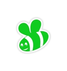 Icon sticker realistic design on paper bee vector