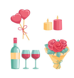 icons for a romantic dinner vector image