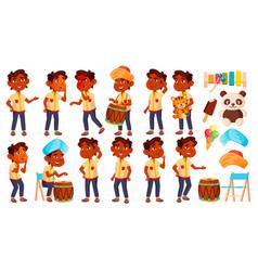 indian boy kindergarten kid poses set vector image