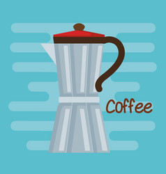 italian coffee maker traditional element on blue vector image