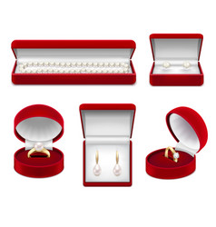 jewelry in boxes realistic set vector image