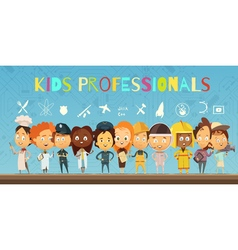 Kids in Costumes Of Professionals Cartoon vector image