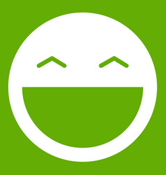 Laughing emoticon green vector