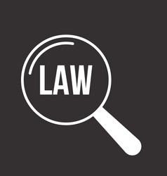 Law word magnifying glass vector