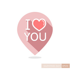 Lettering i love you pin map icon vector