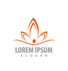 lotus flower orange color concept design symbol vector image