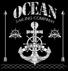 marine graphics and labels for t-shirt vector image