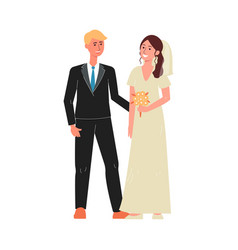 marriage couple characters in wedding day flat vector image
