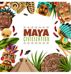 Maya civilization cartoon frame vector