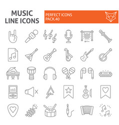 music thin line icon set musical instruments vector image