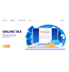 Online tax landing page digital tax form vector