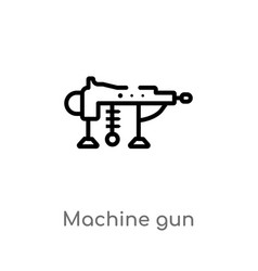Outline machine gun icon isolated black simple vector