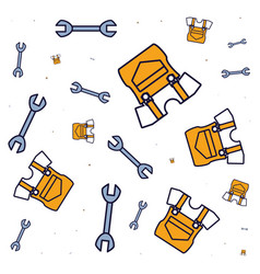 Pattern overalls uniforms with wrenches vector