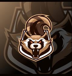 racoon mascot logo esport vector image