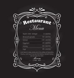 restaurant menu frame blackboard vintage hand vector image