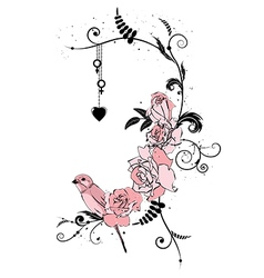 Roses bird and heart vector