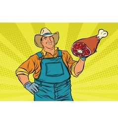 Rural retro farmer and meat leg vector image