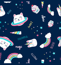 saturn cat and magical icons seamless pattern vector image