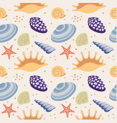 seamless repeat pattern with seashells vector image