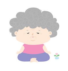 Senior woman do meditation vector