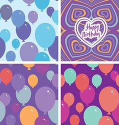 Set 3 Seamless pattern with balloons and happy vector image