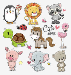 set cartoon animals on white background vector image