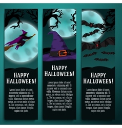 set halloween banners with witch hat bat vector image