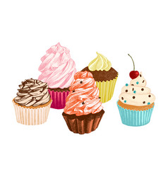 set hand drawn cupcakes vector image